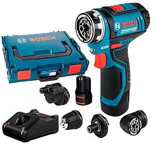 Акумуляторний шуруповерт Bosch GSR 12V-15 FC + 4 насадки+ з/у GAL 12V-40 + 2 акб GBA 12V 2 Ah + L-Boxx (06019F6000)