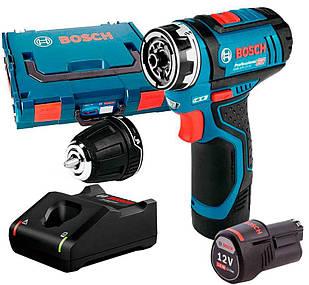 Акумуляторний шуруповерт Bosch GSR 12V-15 FC + з/у GAL 12V-40 + 2 x акб GBA 12V 2 Ah + валіза L-boxx (06019F6001)
