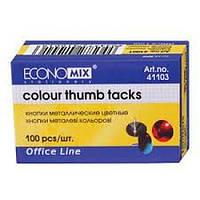 Кнопки металлические Economix, цветные, 100 шт.