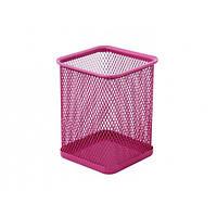 Подставка для ручек Optima прямоугольная, 80х80х100 мм, металл сетка, розовая