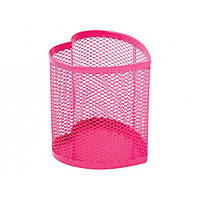 Подставка для ручек сердце Optima, 85х85х100 мм, металл сетка, розовая