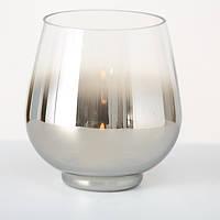 Подсвечник Грация серебряное лакированное стекло h15 d13см Гранд Презент 1511900
