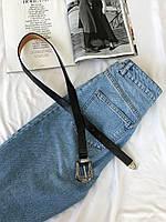 Ремень с винтажной пряжкой в бохо стиле черный