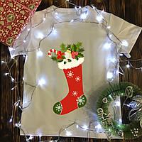 Мужская футболка с принтом - Рождественский носок