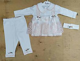 Нарядный детский костюм 3-6 мес с платьем для новорожденных на девочек Турция оптом