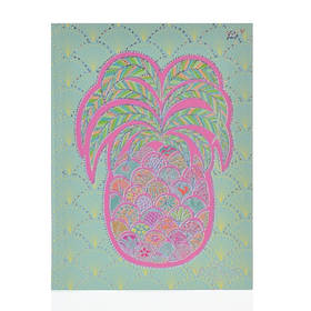 "Блокнот А5/64 ЛИН. 7БЦ, фольга голограф.серебро+УФ-выб. ""Turnowsky. Art pineapple"" YES"