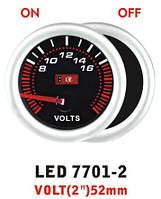 Вольтметр 7701-2 LED стрелочный диаметр 52мм.
