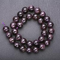 Бусины из натурального камня Аметист гладкий шарик d-12мм нитка L-+-38см