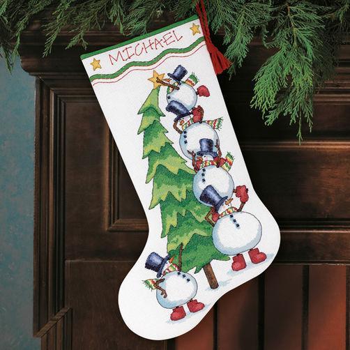 Набор для вышивки крестом «Снеговики украшают елку. Чулок» / «Trimming the Tree Stocking» DIMENSIONS