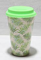 Бамбуковый стакан 450 мл с силиконовой крышкой 4310 Листики, фото 1