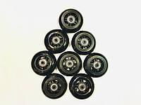 Колеса черные для роликовых коньков 8шт 80ммх24мм с подшипниками АВЕС-7 и втулками
