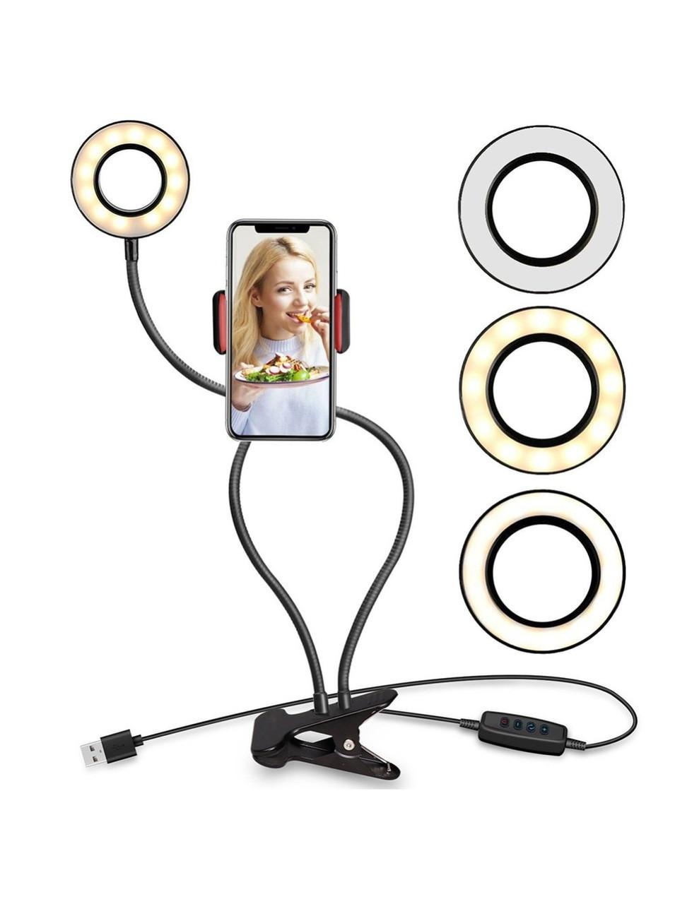 Гибкий держатель для телефона и селфи-кольцо с подсветкой