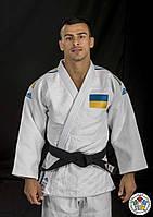 Кимоно для дзюдо Champion|| SlimFit, сине-желтые полосы (белое, J-IJFS-SMU), фото 1