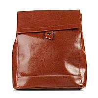 Кожаный стильный женский рюкзак. Цвет: Рыжий