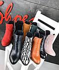 Женские демисезонные ботинки казаки черно-белого цвета, натуральная кожа (в наличии и под заказ 3-12 дней), фото 6