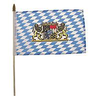 Флажок Баварии с гербом 10x15см на пластиковом флагштоке MFH