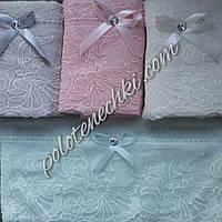 Махровое кухонное полотенце Кружево с камешком