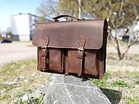 """Кожаная мужская сумка мессенджер """"Бронкс"""". Кожаный коричневый портфель"""