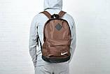 Стильный мужской рюкзак Nike, Найк с кож. дном. Коричневый с черным, фото 5