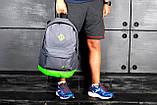 Модный рюкзак NIKE, Найк. Серый с салатовым., фото 3
