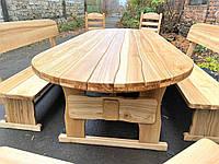 Садовая мебель из массива ясеня 2500х1000 от производителя для дачи, баров, комплект Furniture set - 30