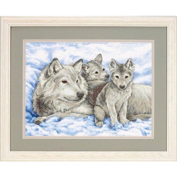 Набор для вышивки крестом «Волчица и волчата» / «Mother Wolf and Pups» DIMENSIONS