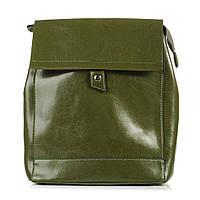 Кожаный стильный женский рюкзак. Цвет: Зелёный