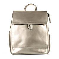 Кожаный стильный женский рюкзак. Цвет: Серый