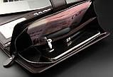 Стильный мужской кожаный клатч, кошелек. Коричневый. Baellerry Business. Балери, фото 9