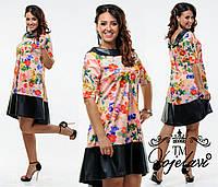 Яркое платье с цветочным принтом Батал    48-50 рр. электрик, красный, фиолетовый, фото 1