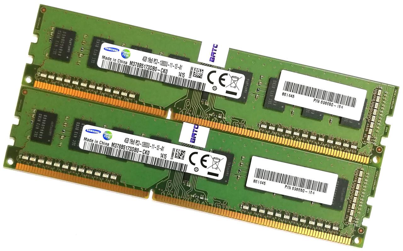 Пара оперативной памяти Samsung DDR3 8Gb (4Gb+4Gb) 1600MHz PC3 12800U 1R8 CL11 (M378B5173DB0-CK0) Б/У