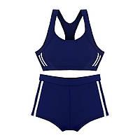 Спортивний роздільний купальник дитячий Топ + шорти Темно-синій, фото 1