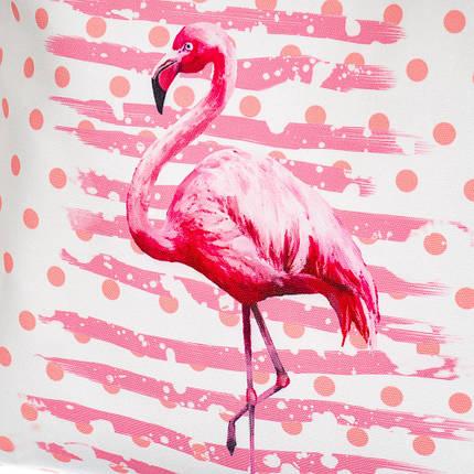 """Нежная тканевая сумка шоппер из экологически чистых материалов """"Фламинго в горошек"""" (8124-010), фото 2"""