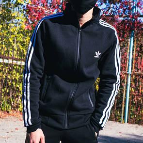 Теплая олимпийка мужская в стиле Adidas Round черна