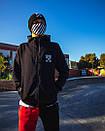 Утепленный зиппер унисекс в стиле Off White Cross Fire черное, фото 2