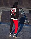Утепленный зиппер унисекс в стиле Off White Cross Fire черное, фото 4