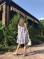 Летний женский сарафан длиной мини с оборкой, фото 3