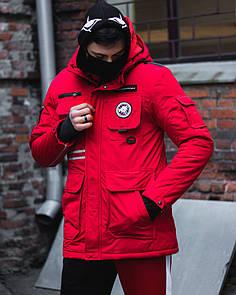 Зимняя мужская парка Fireman красная