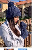 Комплект шапка и перчатки freever для девочки синий, белый, серый, фото 1