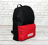Новинка! Молодежный рюкзак суприм, Supreme. Черный с красным., фото 7