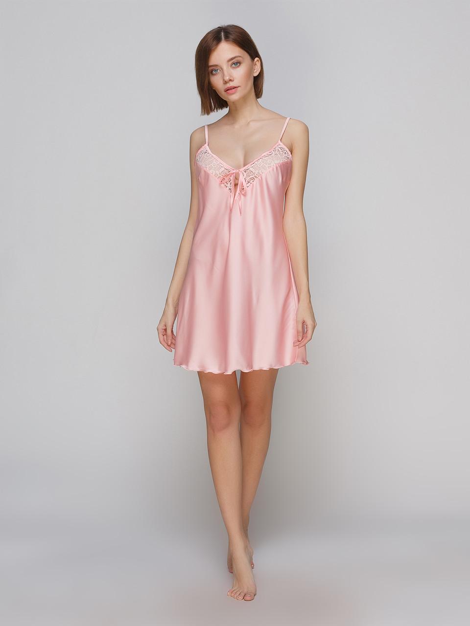 Сорочка Serenade из шелка Армани с нежным кружевом персиковая