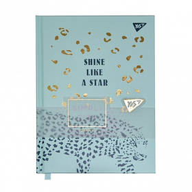 "Блокнот-мотиватор YES ""Shine like a star"" серии ""Simpli City"", 130 х 185 мм, 80 л., бирюз."