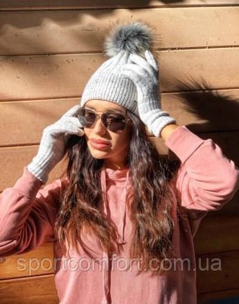 Комплект женский шапка и перчатки freever черный, серый