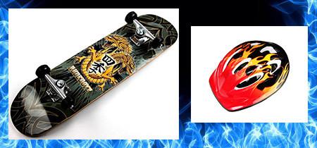 СкейтБорд деревянный Дракон + Шлем