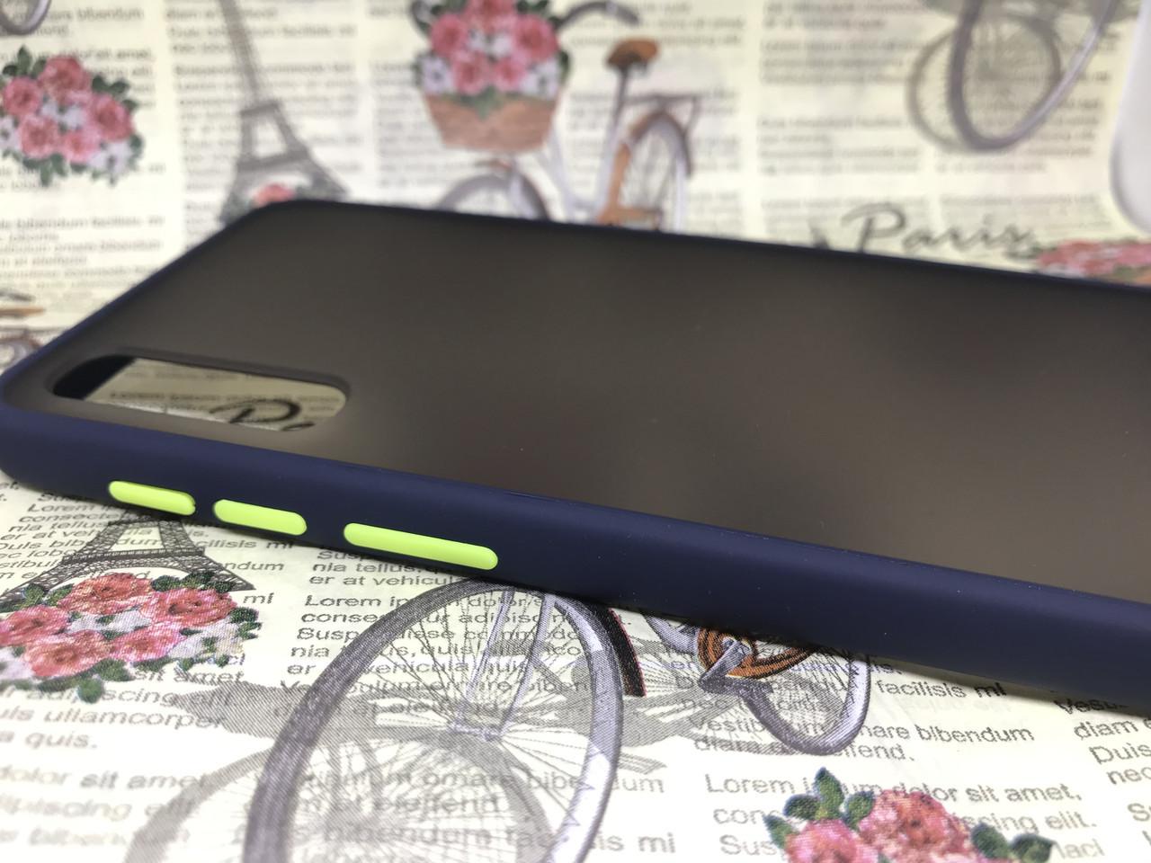 Чехол бампер накладка на Samsung A50 2019 (A505F) противоударный цветная окантовка черный синий зеленый белый