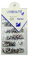 Стразы для декора ногтей Lilly Beaute 6 размеров цветные, №3856