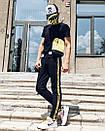 Спортивные штаны в стиле Off White 5400 черные с желтым, фото 2