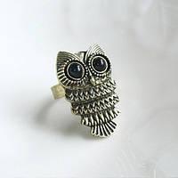 """Кольцо """"Бронзовая сова"""" с глазками-камушками"""