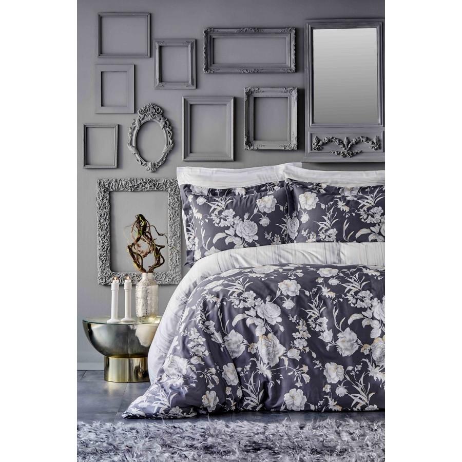 Постельное белье Karaca Home сатин - Elvira antrasit 2019-1 антрацит king size