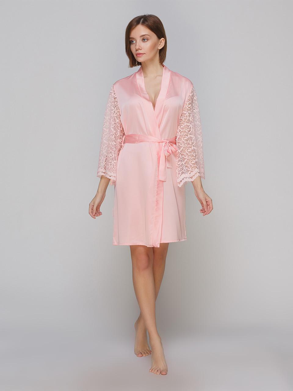 Халат Serenade из шелка Армани персиковый с кружевом